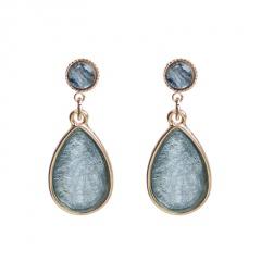 Fashion Waterdrop Shape Blue Stone Dangle Stud Earrings Blue