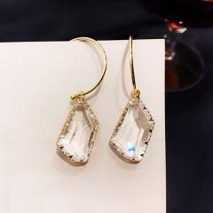 Fashion Butterfly Dangle Chain Stud Earrings Crystal