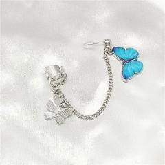 1pc Butterfly Chain Stud Earrings Wholesale Blue