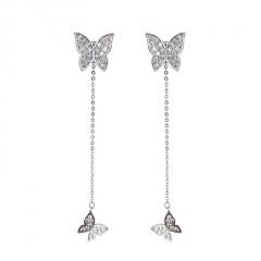 Fashion Butterfly Dangle Chain Stud Earrings Butterfly