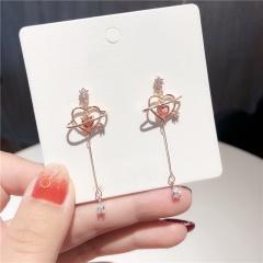 Long Hollow Heart Zircon Earrings Love