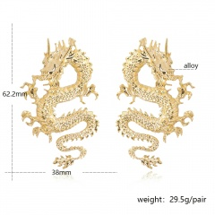 Exaggerated sculpted dragon ear stud earrings Golden