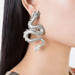 Exaggerated sculpted dragon ear stud earrings Silver