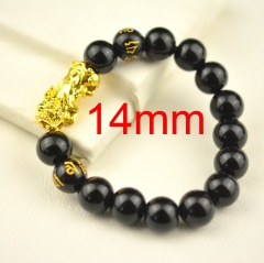 Lucky Pixiu Double Six-character Mantra Transfer Bracelet 14mm