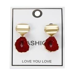 Geometric Irregular Natural Stone Earrings Red