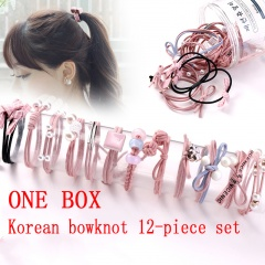 Rubber Band Hair And Rope Fitting Pink bow