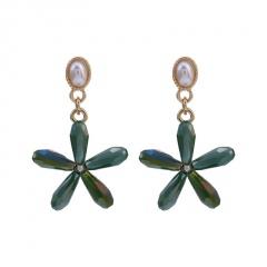 Multicolor Crystal Flower Alloy Dangle Fashion Earrings Green