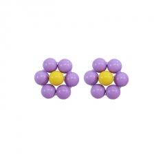 Macaron Color Fresh Flower Stud Sweet Earrings Purple