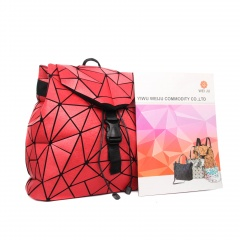 Geometric Ringer Backpack Storage Travel Student Backpack 34*32*13.5cm Red