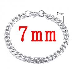 Wholesale 22CM Length Fashion Stainless Steel Chain Men's Bracelet Silver-7mm