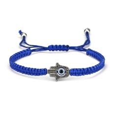 Black and Blue Evil Eye Braide Adjustable Bracelets Blue-Palm