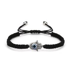 Black and Blue Evil Eye Braide Adjustable Bracelets Black-Palm