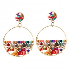 Natural Stone Bohemian Ethnic Style Hand-Woven Earrings Multicolor