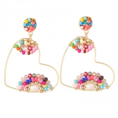 Heart Crystal Bohemian Hand-Woven Earrings Multicolor