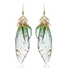 Gold Foil Long Cicada Wing Butterfly Simulation Earrings Green
