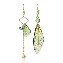 Long Asymmetrical Cicada Wings Butterfly Simulation Earrings Green