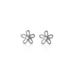 S925 Flower Hollow Small Stud Earrings For Women Silver