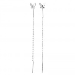 S925 Long Chain Butterfly Earrings Jewelry Silver