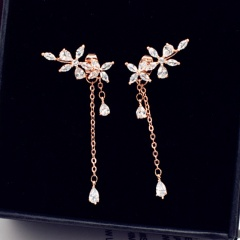 Copper + CZ Stone Leaf Tassel Long Stud Earrings Rose Gold