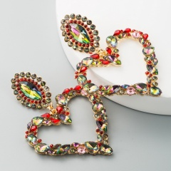 Heart Full Crystal Large Dangle Statement Earring Wholesale Multicolor