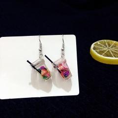 Lemon Three-Dimensional Drink Earrings Purple