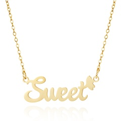 Golden English Alphabet Stainless Steel Necklace Sweet