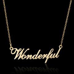 Golden English Alphabet Stainless Steel Necklace Wonderful