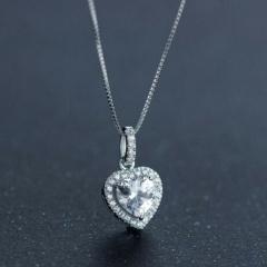 Copper with Stone Heart Full Diamond Box Chain Necklace Heart