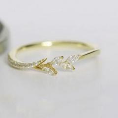 Flower Inlaid Zircon Metal with Gemstone Rings Gold
