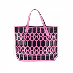 Pink Geometric Diamond Lattice Hollow Jelly Color Shoulder Bag Pink
