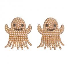 Spooky Face Halloween Metal Pearl Earrings Pearl