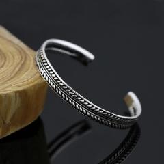 Feather Leaf Vintage Open Adjustable Bracelet Wide