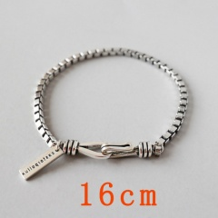 Box Chain Vintage Antique Silver Bracelet 16cm