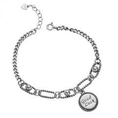 Good Luck Round Letter Chain Vintage Bracelet Cicle
