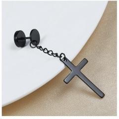 1pc Cross Stainless Steel Dumbbell Chain Stud Earrings Black