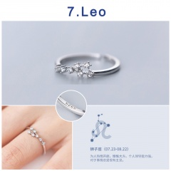 12 Constellation Silver Opening Adjustable Diamond Rings Leo