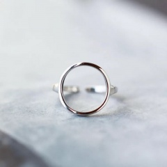 Silver Circle Metal Simple Rings For Women Hollow