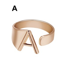 Rose Gold Meatal 26 Alphabet Opening Adjustable Rings A