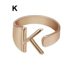 Rose Gold Meatal 26 Alphabet Opening Adjustable Rings K