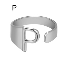Silver Metal 26 Alphabet Opening Adjustable Statement Rings P
