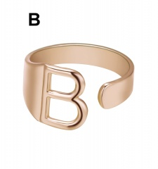 Rose Gold Meatal 26 Alphabet Opening Adjustable Rings B