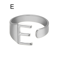 Silver Metal 26 Alphabet Opening Adjustable Statement Rings E