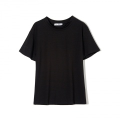 Summer Solid Color Round Neck Loose Short Sleeve T-shirt Tops Black M