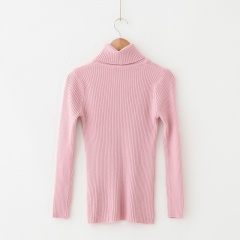 High-necked Long-sleeved Bottoming Shirt with Tight-fitting Knit Sweater Pink One size