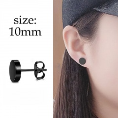 1PC Black Stainless Steel Men's Simple Earrings 1PC #2