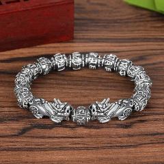 Lucky Pixiu Bracelet Thai Silver Transfer Beads Evil Spirits Lucky Bracelet Silver