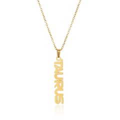 Titanium Steel Clavicle Chain English Twelve Constellation Necklace Taurus