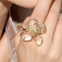 Exaggerated Crystal Flower Open Band Ring White