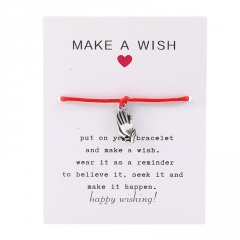 Make a Wish Rope Prayer Hand Woven Adjustable Couple Paper Card Bracelet Red