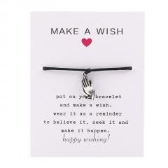Make a Wish Rope Prayer Hand Woven Adjustable Couple Paper Card Bracelet Black
